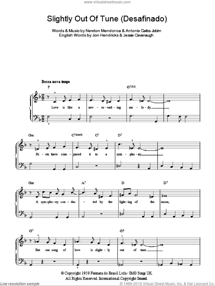Desafinado (Slightly Out Of Tune) sheet music for piano solo by Antonio Carlos Jobim, Jessie Cavanaugh, Jon Hendricks and Newton Mendonca, easy skill level