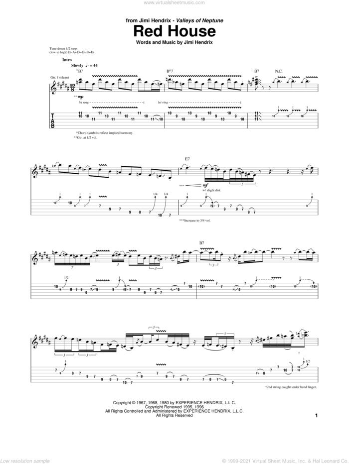 Red House sheet music for guitar (tablature) by Jimi Hendrix, intermediate skill level
