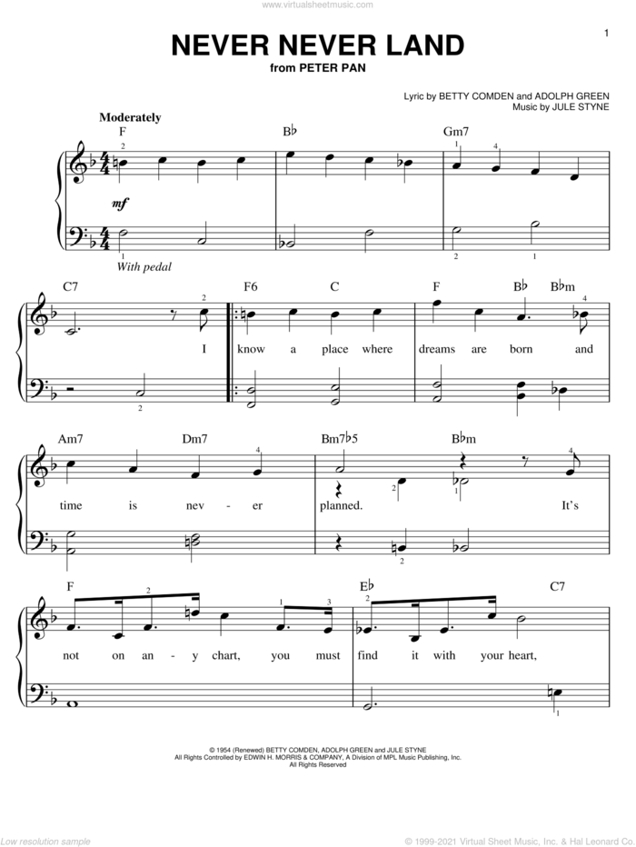 Never Never Land sheet music for piano solo by Betty Comden, Peter Pan (Musical), Adolph Green and Jule Styne, easy skill level