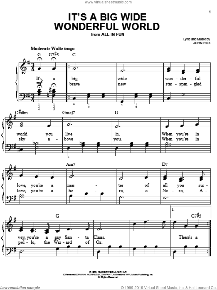 It's A Big Wide Wonderful World sheet music for piano solo by John Rox, easy skill level