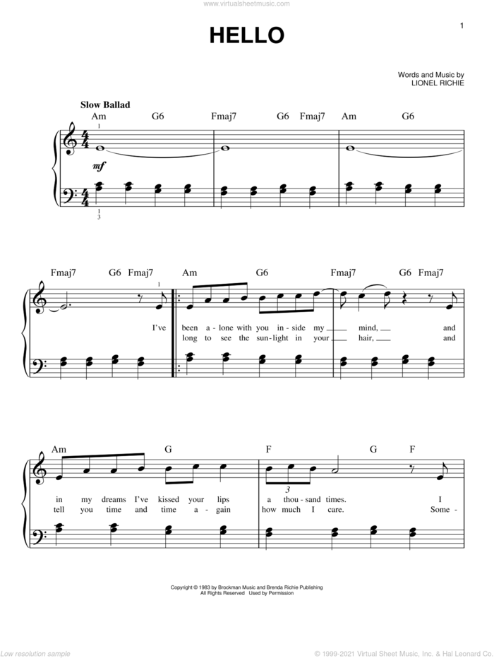 Hello, (easy) sheet music for piano solo by Lionel Richie and Miscellaneous, easy skill level