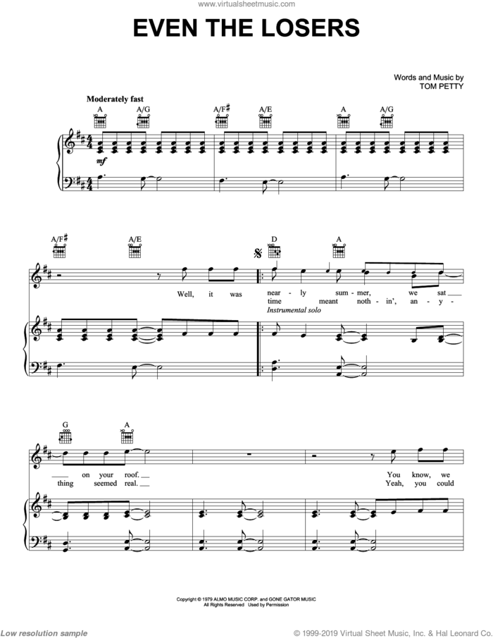 Even The Losers sheet music for voice, piano or guitar by Tom Petty And The Heartbreakers and Tom Petty, intermediate skill level
