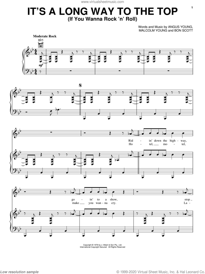 It's A Long Way To The Top (If You Wanna Rock 'N' Roll) sheet music for voice, piano or guitar by AC/DC, Angus Young, Bon Scott and Malcolm Young, intermediate skill level