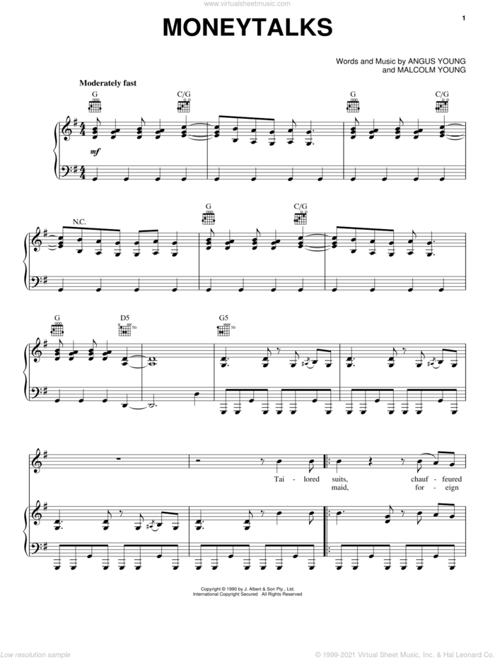 Moneytalks sheet music for voice, piano or guitar by AC/DC, Angus Young and Malcolm Young, intermediate skill level