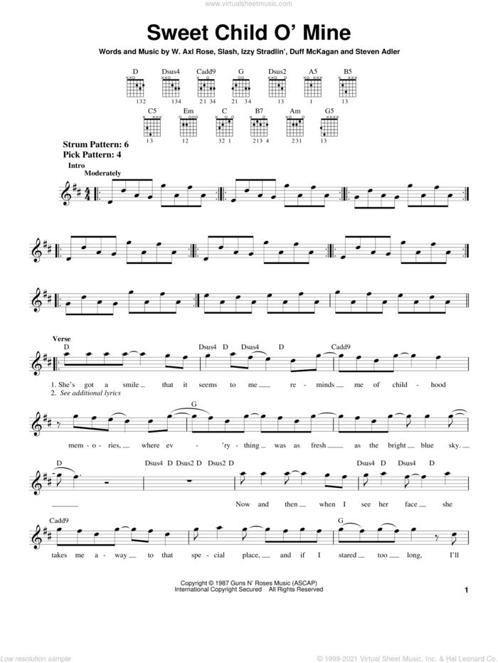Sweet Child O' Mine sheet music for guitar solo (chords) by Guns N' Roses, Axl Rose, Duff McKagan, Slash and Steven Adler, easy guitar (chords)