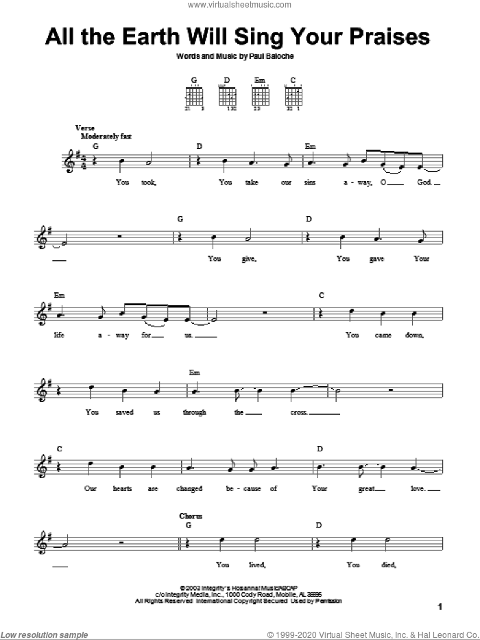 All The Earth Will Sing Your Praises sheet music for guitar solo (chords) by Paul Baloche, easy guitar (chords)