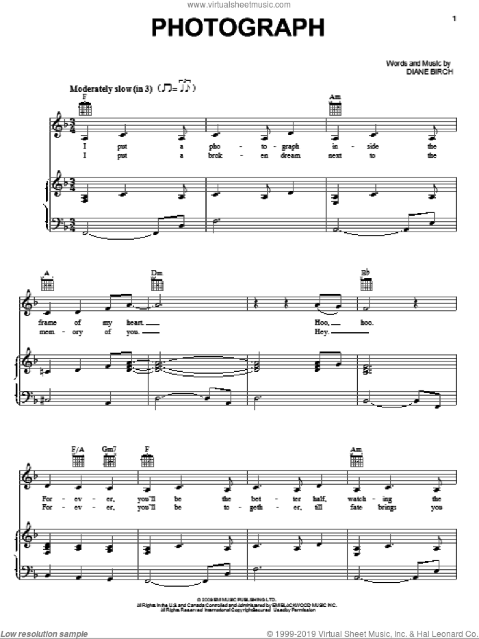 Photograph sheet music for voice, piano or guitar by Diane Birch, intermediate skill level