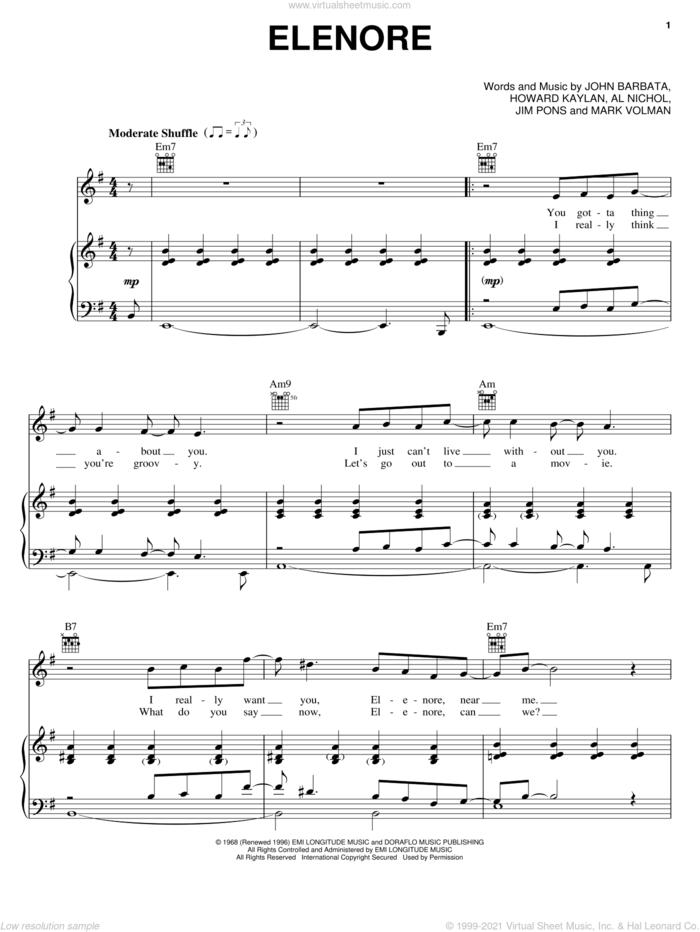 Elenore sheet music for voice, piano or guitar by The Turtles, Al Nichol, Howard Kaylan, Jim Pons, John Barbata and Mark Volman, intermediate skill level