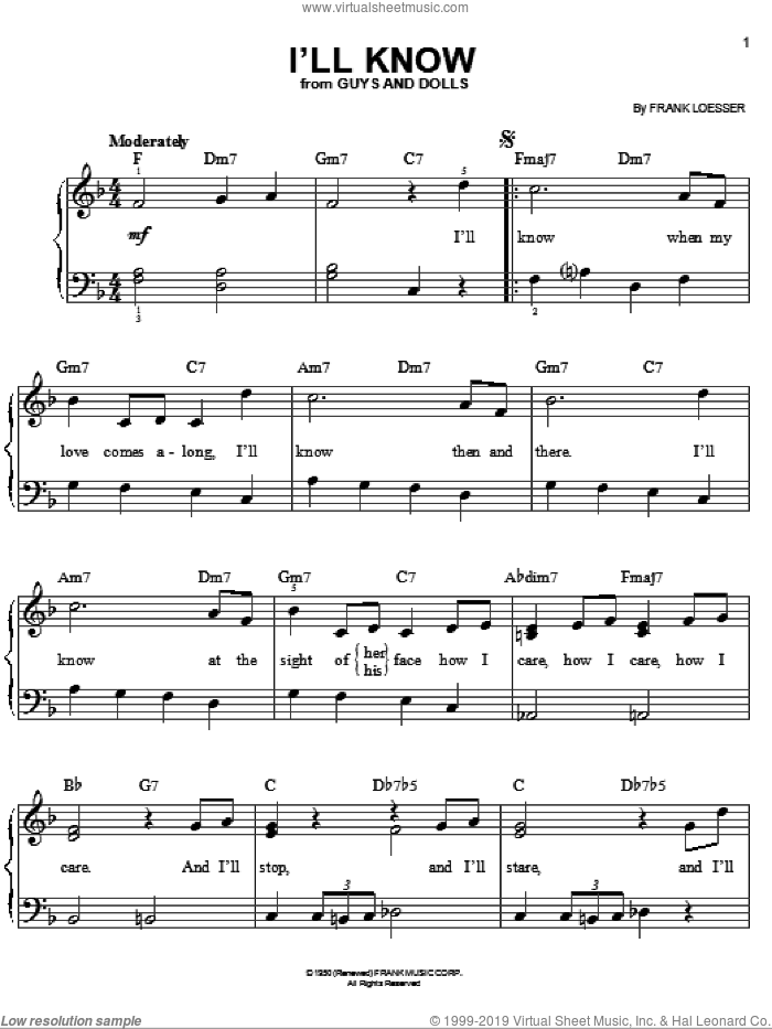 I'll Know sheet music for piano solo by Frank Loesser and Guys And Dolls (Musical), easy skill level