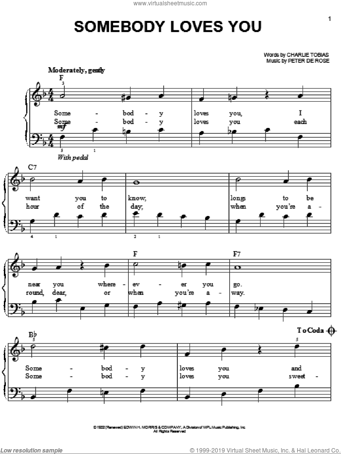 Somebody Loves You sheet music for piano solo by Peter DeRose and Charles Tobias, easy skill level
