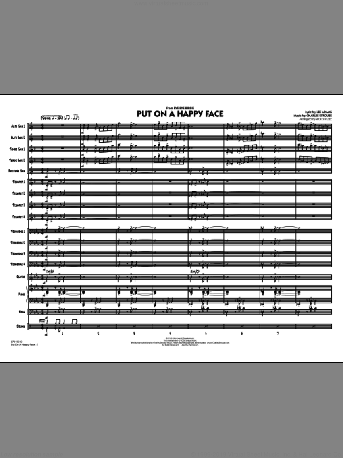 Put On A Happy Face (COMPLETE) sheet music for jazz band by Charles Strouse, Lee Adams and Rick Stitzel, intermediate skill level