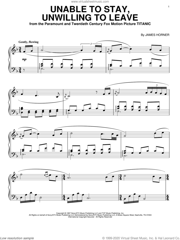 Unable To Stay, Unwilling To Leave sheet music for piano solo by James Horner, intermediate skill level