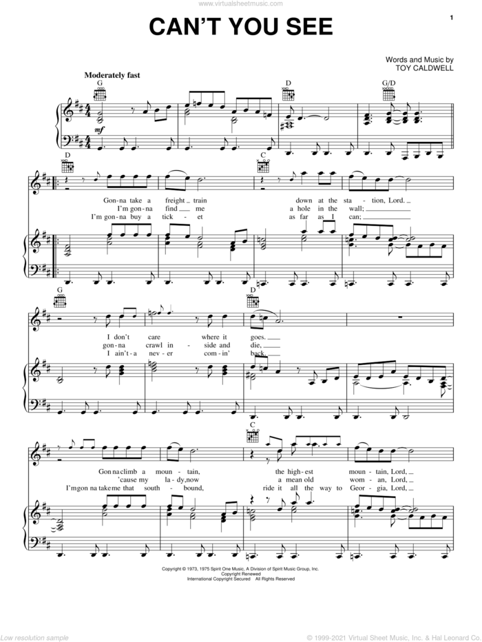 Can't You See sheet music for voice, piano or guitar by Marshall Tucker Band and Toy Caldwell, intermediate skill level