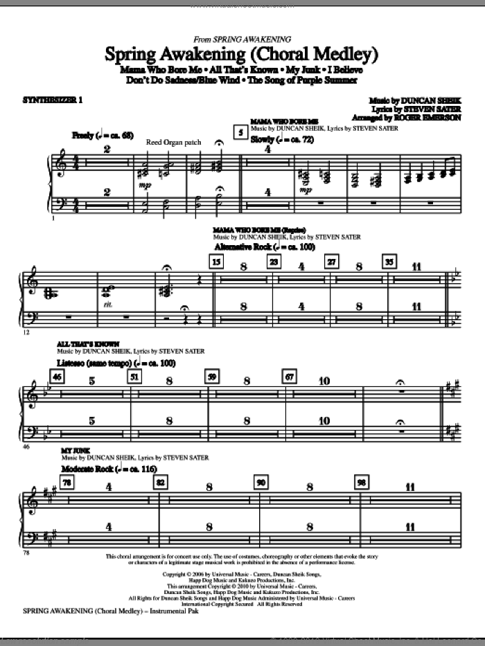 Spring Awakening (Choral Medley) (complete set of parts) sheet music for orchestra/band by Duncan Sheik, Steven Sater and Roger Emerson, intermediate skill level
