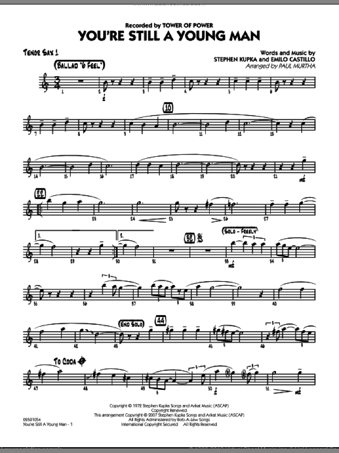 You're Still A Young Man sheet music for jazz band (tenor sax 1) by Paul Murtha, Emilio Castillo, Stephen Kupka and Tower Of Power, intermediate skill level