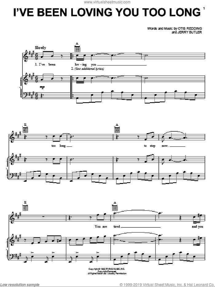 I've Been Loving You Too Long sheet music for voice, piano or guitar by Otis Redding and Jerry Butler, intermediate skill level
