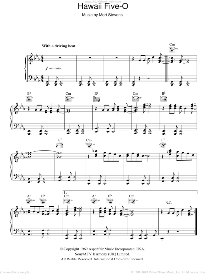 Hawaii Five-O sheet music for piano solo by The Ventures and Mort Stevens, intermediate skill level
