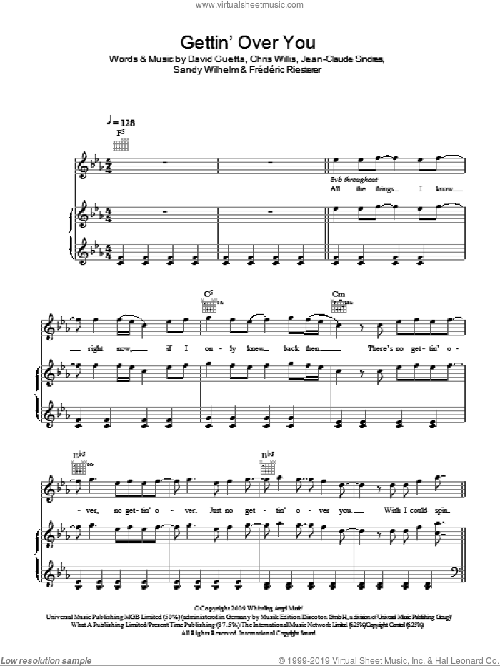 Gettin' Over You sheet music for voice, piano or guitar by David Guetta & Chris Willis featuring Fergie & LMFAO, Fergie, Chris Willis, David Guetta, Frederic Riesterer, Jean-Claude Sindres and Sandy Wilhelm, intermediate skill level