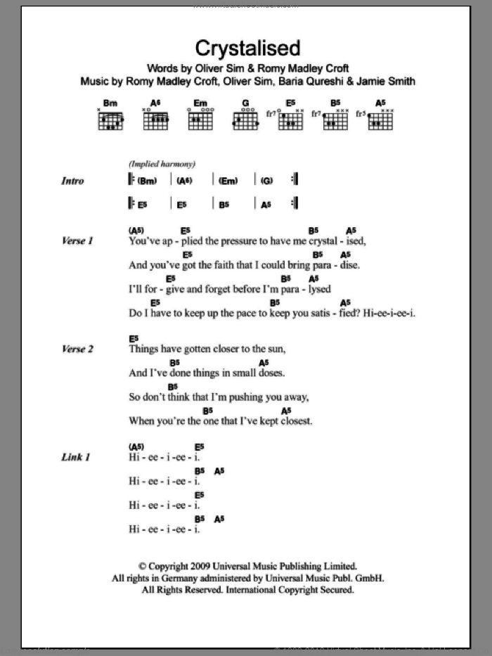 Crystalised sheet music for guitar (chords) by The XX, Baria Qureshi, Jamie Smith, Oliver Sim and Romy Madley Croft, intermediate skill level