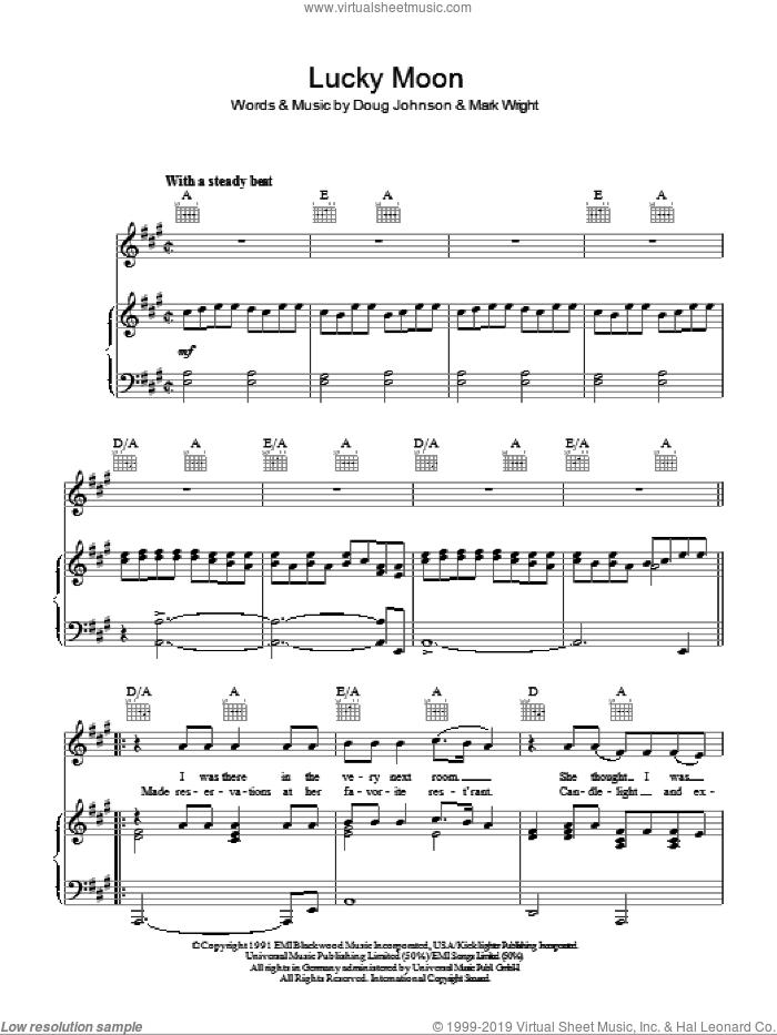 Lucky Moon sheet music for voice, piano or guitar by Oak Ridge Boys, Doug Johnson and Mark Wright, intermediate skill level