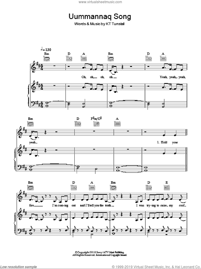 Uummannaq Song sheet music for voice, piano or guitar by KT Tunstall, intermediate skill level