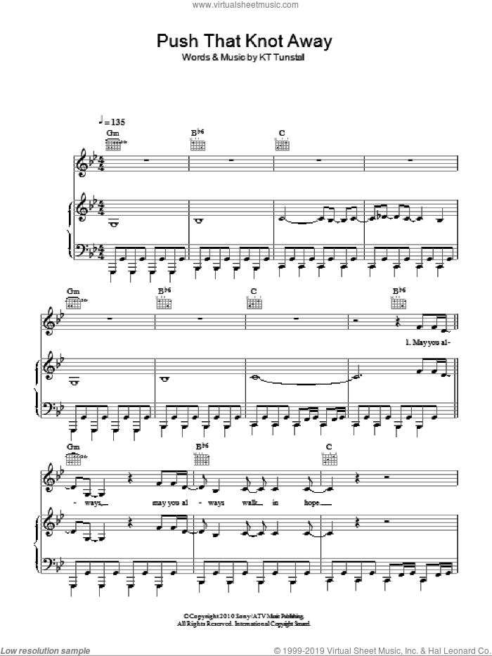 Push That Knot Away sheet music for voice, piano or guitar by KT Tunstall, intermediate skill level