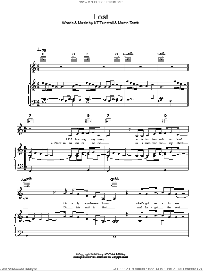 Lost sheet music for voice, piano or guitar by KT Tunstall and Martin Terefe, intermediate skill level