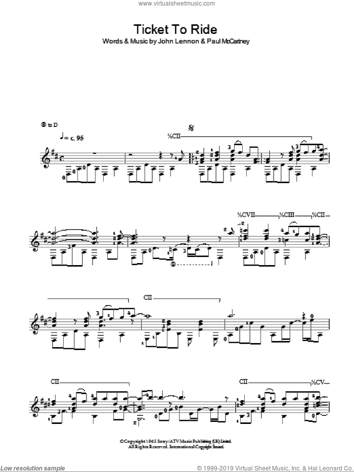 Ticket To Ride sheet music for guitar solo (chords) by The Beatles, John Lennon and Paul McCartney, easy guitar (chords)