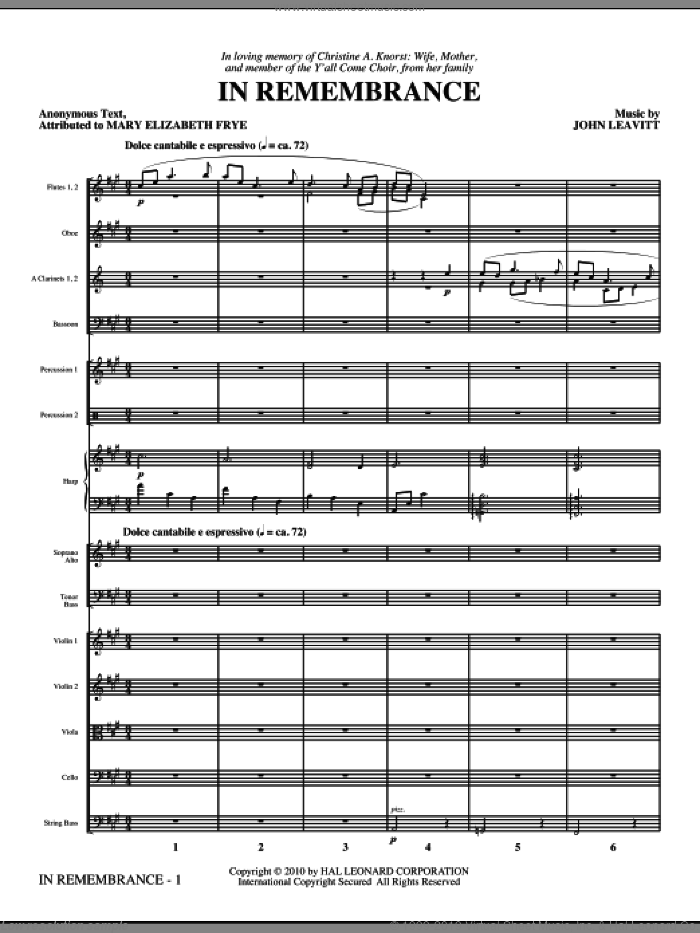 In Remembrance (complete set of parts) sheet music for orchestra/band (chamber ensemble) by John Leavitt and Mary Elizabeth Frye, intermediate skill level