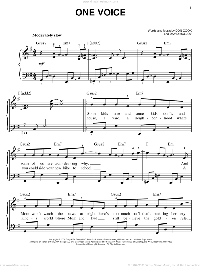 One Voice sheet music for piano solo by Billy Gilman, David Malloy and Don Cook, easy skill level