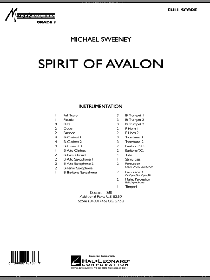 Spirit Of Avalon (COMPLETE) sheet music for concert band by Michael Sweeney, intermediate skill level