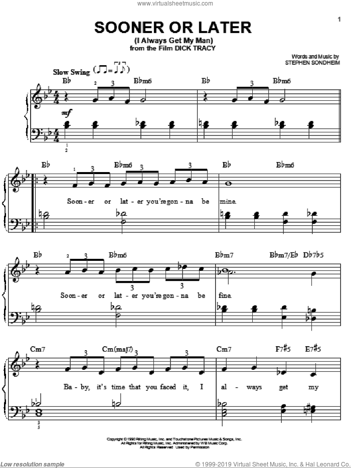 Sooner Or Later (I Always Get My Man) sheet music for piano solo by Stephen Sondheim, easy skill level