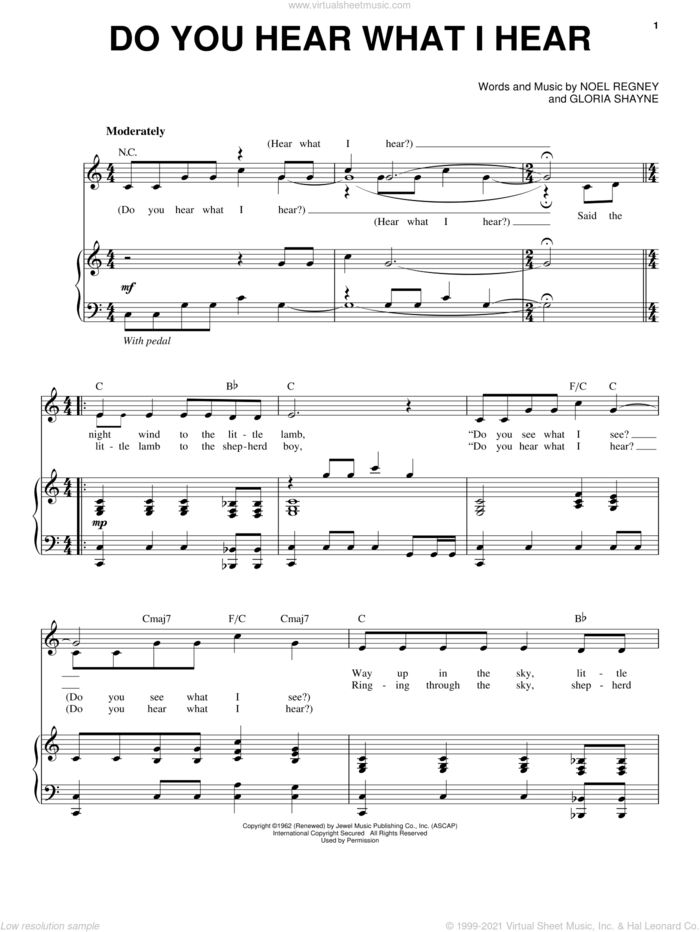 Do You Hear What I Hear sheet music for voice and piano by Andy Williams, Gloria Shayne and Noel Regney, intermediate skill level
