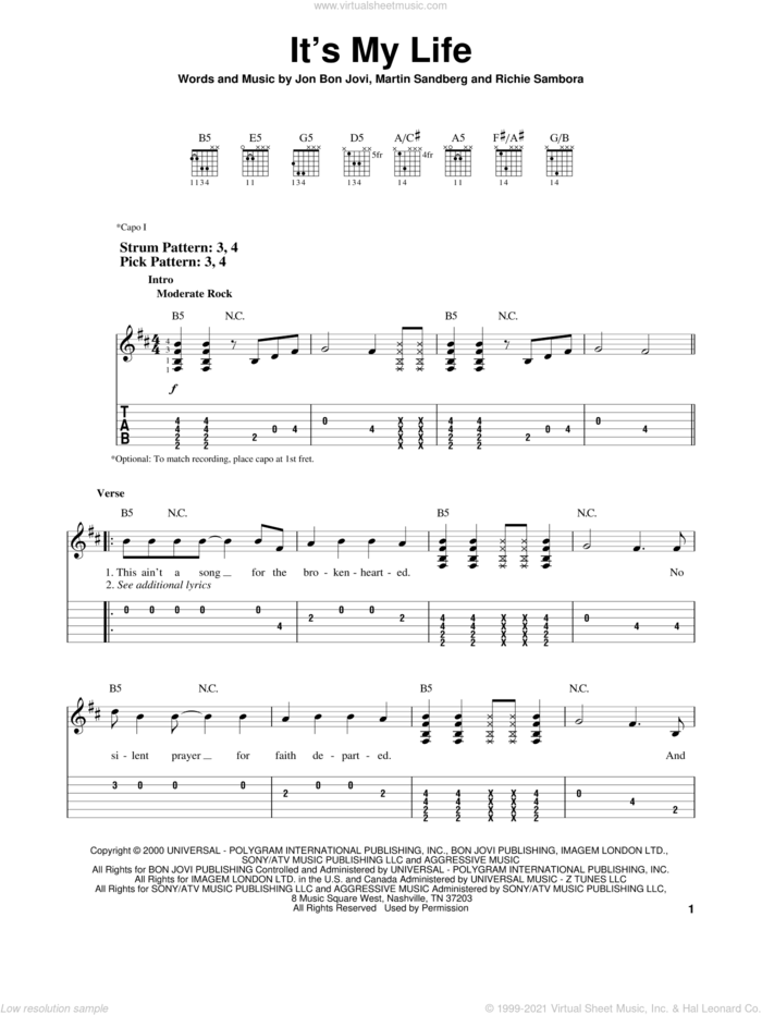 It's My Life sheet music for guitar solo (easy tablature) by Bon Jovi, Miscellaneous, Martin Sandberg and Richie Sambora, easy guitar (easy tablature)