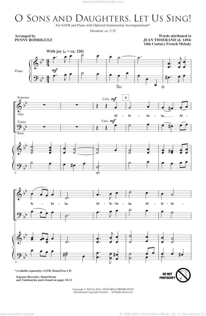 O Sons And Daughters, Let Us Sing! sheet music for choir (SATB: soprano, alto, tenor, bass) by Penny Rodriguez, Jean Tisserand and Miscellaneous, intermediate skill level