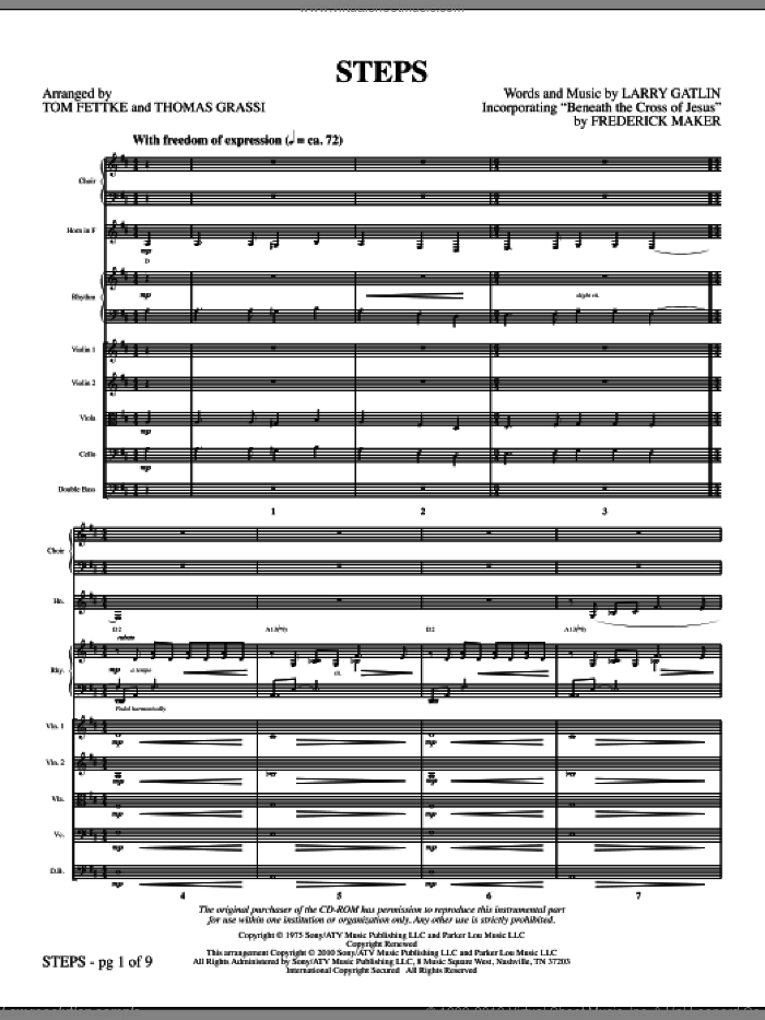 Steps (complete set of parts) sheet music for orchestra/band (Strings) by Larry Gatlin and Tom Fettke, intermediate skill level