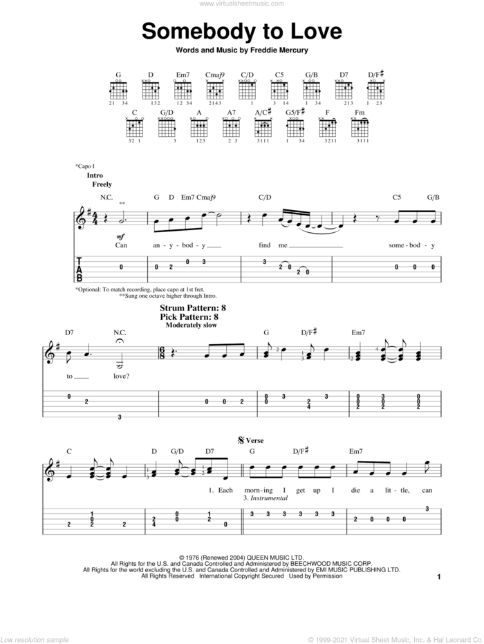 Somebody To Love sheet music for guitar solo (easy tablature) by Queen, Miscellaneous and Freddie Mercury, easy guitar (easy tablature)