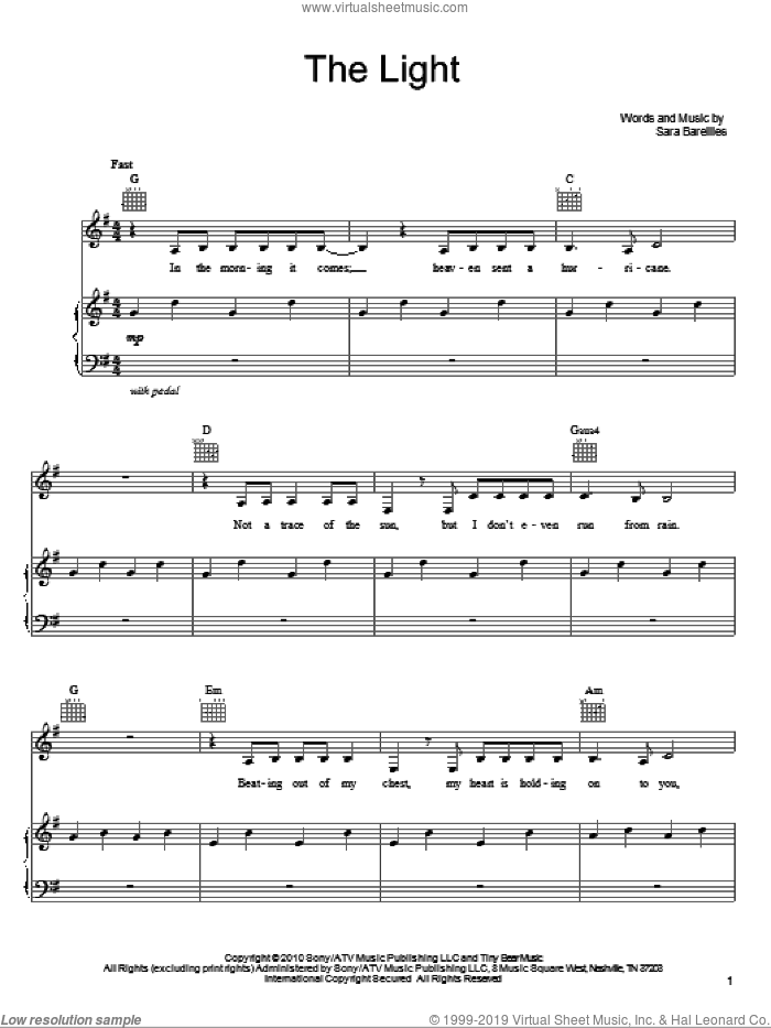 The Light sheet music for voice, piano or guitar by Sara Bareilles, intermediate skill level