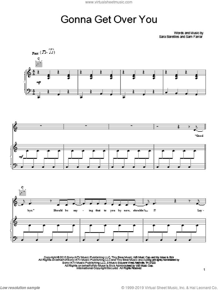 Gonna Get Over You sheet music for voice, piano or guitar by Sara Bareilles and Sam Farrar, intermediate skill level