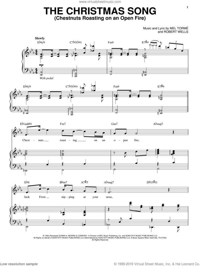 The Christmas Song (Chestnuts Roasting On An Open Fire) sheet music for voice and piano by Andy Williams, Mel Torme and Robert Wells, intermediate skill level