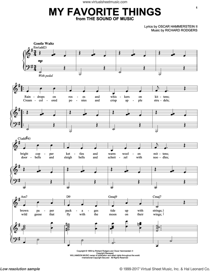 My Favorite Things sheet music for voice and piano by Andy Williams, Rodgers & Hammerstein, The Sound Of Music (Musical), Oscar II Hammerstein and Richard Rodgers, intermediate skill level