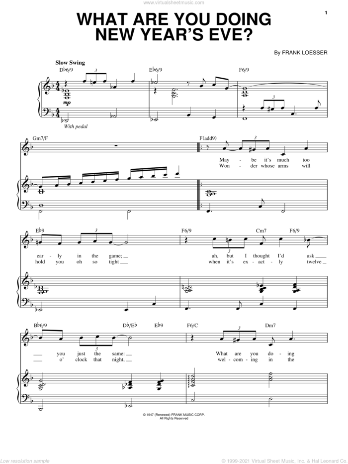 What Are You Doing New Year's Eve? sheet music for voice and piano by Andy Williams and Frank Loesser, intermediate skill level