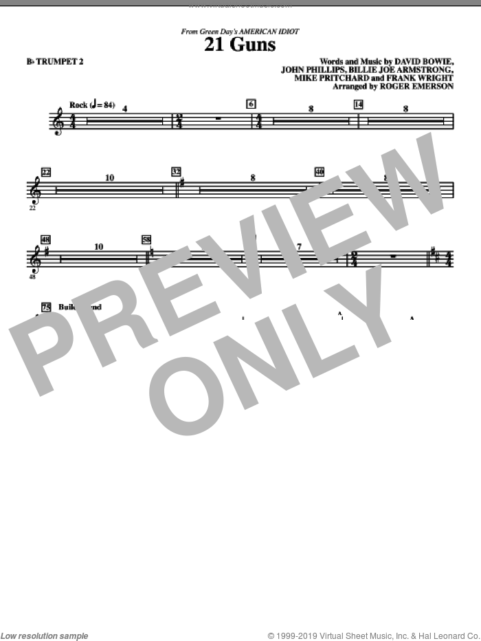 21 Guns (from American Idiot) (arr. Roger Emerson) sheet music for orchestra/band (trumpet 2) by David Bowie, Billie Joe Armstrong, Frank Wright, John Phillips, Mike Pritchard, Green Day and Roger Emerson, intermediate skill level