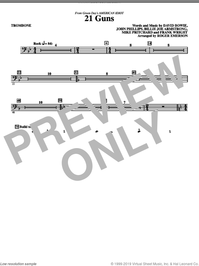 21 Guns (from American Idiot) (arr. Roger Emerson) sheet music for orchestra/band (trombone) by David Bowie, Billie Joe Armstrong, Frank Wright, John Phillips, Mike Pritchard, Green Day and Roger Emerson, intermediate skill level