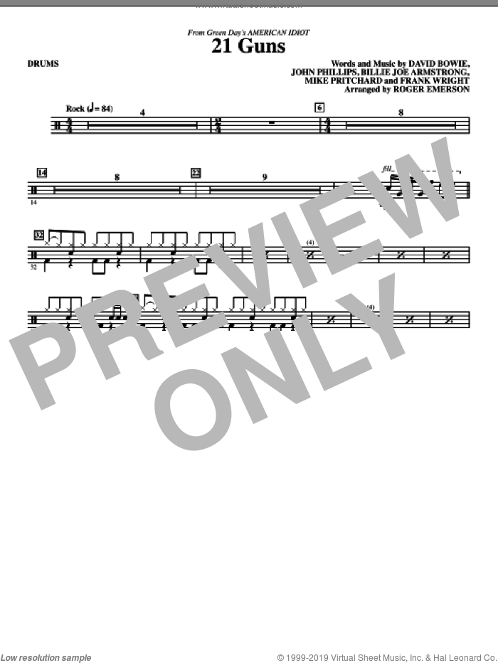 21 Guns (from American Idiot) (arr. Roger Emerson) sheet music for orchestra/band (drums) by David Bowie, Billie Joe Armstrong, Frank Wright, John Phillips, Mike Pritchard, Green Day and Roger Emerson, intermediate skill level