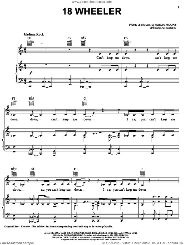 18 Wheeler sheet music for voice, piano or guitar by Alecia Moore, Miscellaneous and Dallas Austin, intermediate skill level