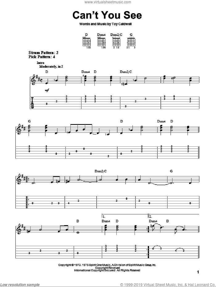 Can't You See sheet music for guitar solo (easy tablature) by Marshall Tucker Band and Toy Caldwell, easy guitar (easy tablature)