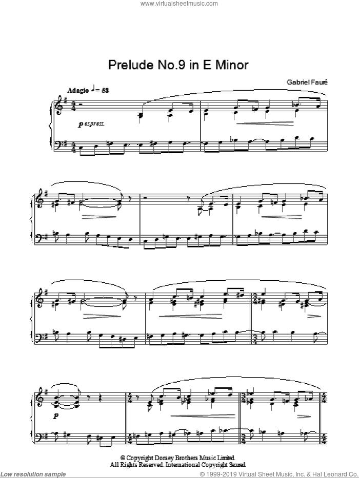 Prelude No. 9 In E Minor sheet music for piano solo by Gabriel Faure, classical score, intermediate skill level