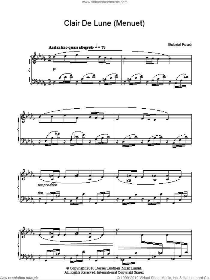 Minuet From Clair De Lune sheet music for piano solo by Gabriel Faure, classical score, intermediate skill level
