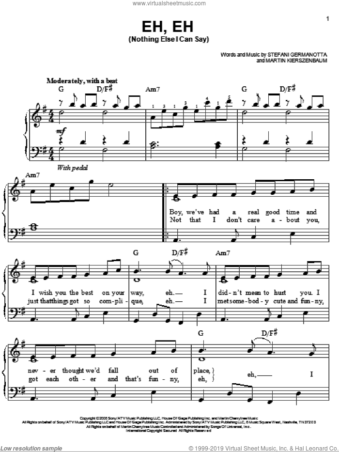 Eh, Eh (Nothing Else I Can Say) sheet music for piano solo by Lady GaGa and Martin Kierszenbaum, easy skill level